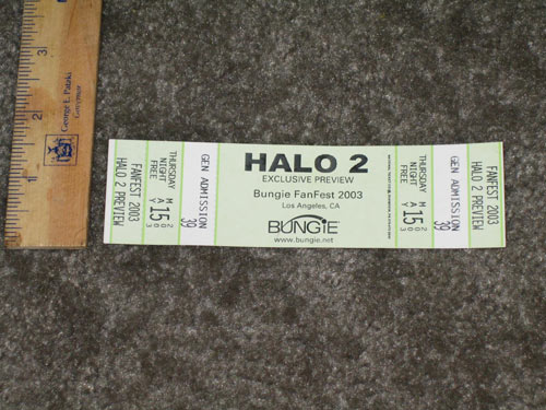 Bungie Fanfest 2003 Halo 2 Preview Ticket
