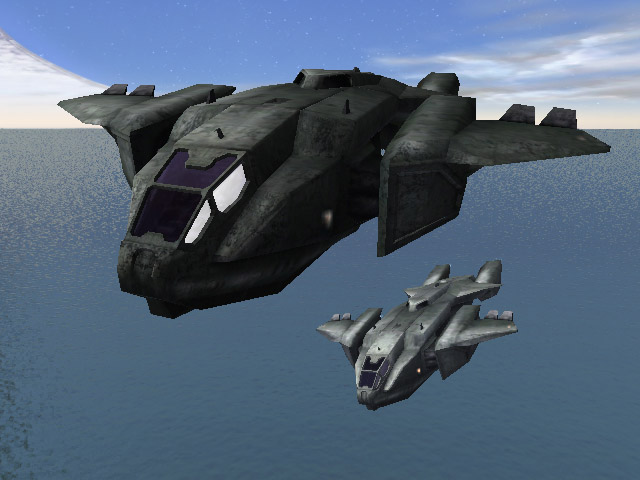 Two Pelicans inbound to the LZ on the Silent Cartographer islandHalo Albatross Dropship